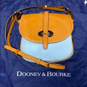 Dooney & Bourke Cristina Baby Blue & Tan Crossbody